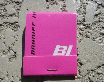 Vintage Airline Airways Vintage Airplane BN Pink Matchbook Matches Braniff International
