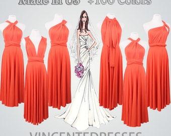 Short Formal Dress,Coral Dress,Short infinity Dress,Women's Formal Dress,Any occasions,Knee-length Formal Dresses