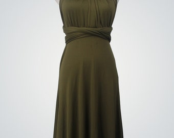 Olive GreenBridesmaid Dress, infinity dress, Short knee-length convertible dress,bridesmaid dresses,party dress