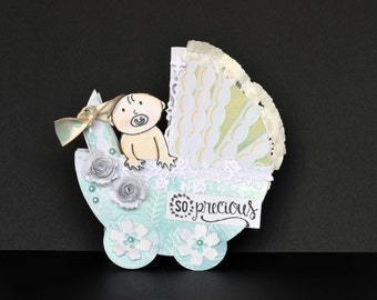 3D Baby Card, Baby Shower Card, Baby Boy Card, Baby Girl Card, New Baby card, Newborn, Congratulations, Welcome baby card, Baby Pram - GR001