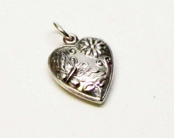 BUTTERFLY HEART Charm, Heart Necklace Pendant, Sterling Silver Charms, Sterling Heart Charm, Butterfly Jewelry, Brown County Silver