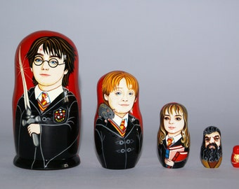 Harry Potter Nesting Doll. J.K.Rowling Nesting Doll. Harry Potter, Ron Weasley, Hermione Granger, Rubeus Hagrid