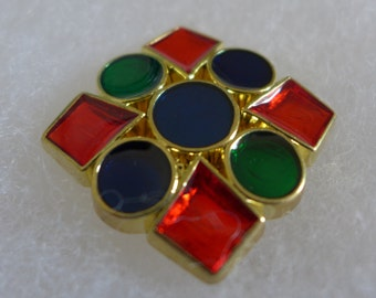 6 Plastic square buttons - blue, red, green - 32 mm x 32 mm