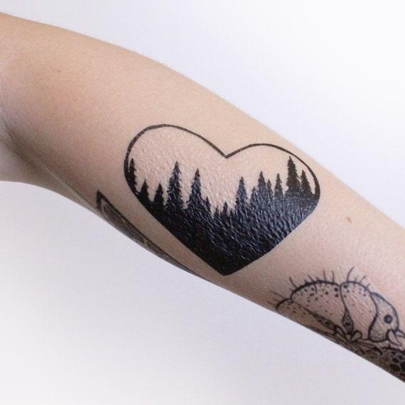 Heart Pine Forest Scene Temporary Tattoo, Tree Line Tattoo, Black Ink, Nature Tattoo