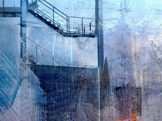 The Blue Stair, architectural print, industrial art, contemporary print, archival pigment print, wall decor, blue, limited edition print