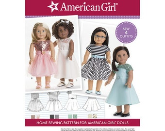 "Sewing Pattern for American Girl or  18"" Doll Wardrobe , Simplicity Pattern 8039,  American Girl Dress Patterns, Modern Style"