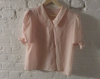 1970s vintage baby pink see-through chiffon blouse - UK 8 EU 36 US 6 - Seventies Cute Boho Bohemian Retro