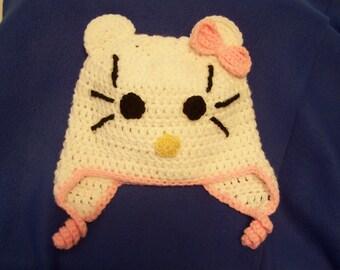 Hello Kitty Earflap Hat - handmade