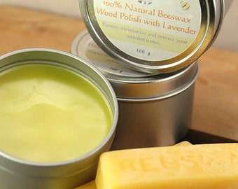 100% Natural Beeswax Wood Polish with Lavender. Naturally protects wood and antiques. Gently scented with lavender.