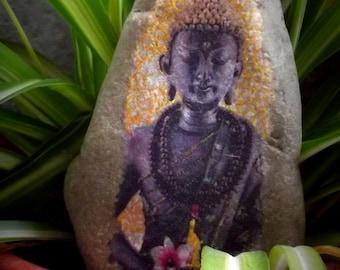 Buddha, stone decorated garden decoration, decoupage, paperweight