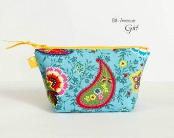Zipper pouch, cosmetic bag, makeup bag, paisley blue fabric zipper bag