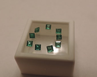 9 loose Square Cut Natural Colombian Emeralds 1.13tcw