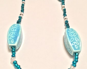 Teal/blue beaded necklace