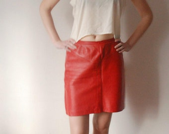 vintage 80's red LEATHER PENCIL mini skirt S M