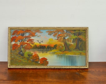 Vintage Landscape Oil Painting / Original Oil Painting