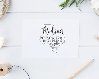 Custom Return Address Stamp - Texas - Personalize with YOUR state!