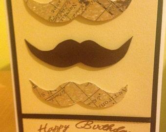 Men's Moustache Birthday Card
