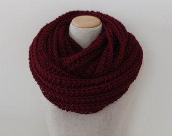 Knitted infinity scarf, oversized infinity scarf, loop scarf, vegan clothing, circle scarf, blanket scarf, burgundy, wine red infinity scarf