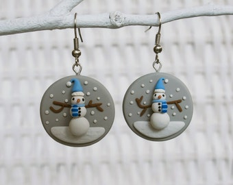Snowman Earrings, Polymer Clay Christmas Earrings, Snow Christmas Earrings, Winter Buttons, Handmade Christmas Snowman Earrings, Glitter