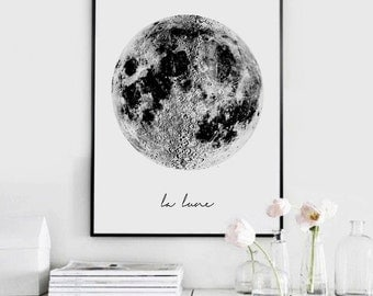 La Lune, Moon Poster ,Vintage Luna Print, La Luna, Moon art, Moon Print, Moon Wall art, Scandinavian Print, Scandinavian Art, Scandinavian