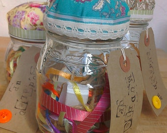 Pin cushion sewing jar in paisley