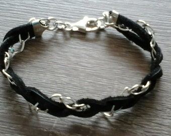 Mens bracelet 925 Silver with Leather