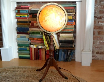 vintage 1940 Replogle land and sea lighted globe world globe lamp on wooden clawfoot stand   *** Houston, Texas LOCAL PICKUP ONLY***