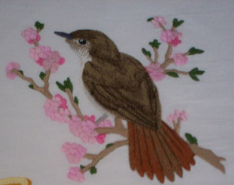 Nightingale of Inspiration Embroidered Flour Sack Towel, Embroidered Nightingale Towel, Embroidered Inspiration Towel
