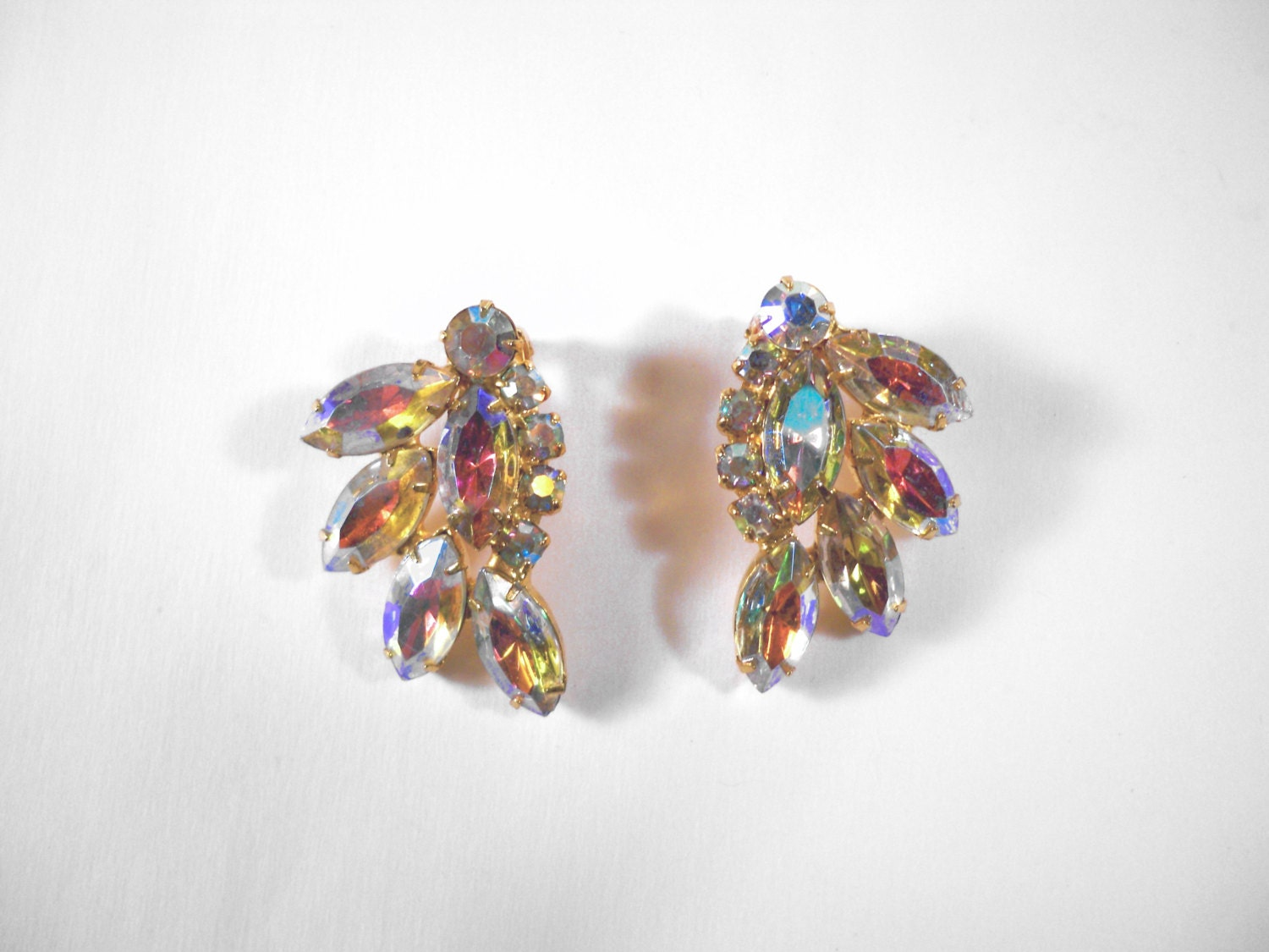 Vintage AB Rhinestone Clip Earrings U3116 Prom wedding