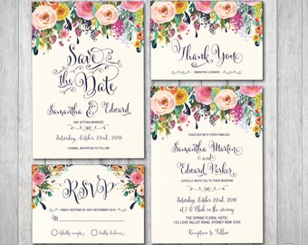 Floral Wedding Invitation Kit Bohemian Flower Boho Suite RSVP Thank You