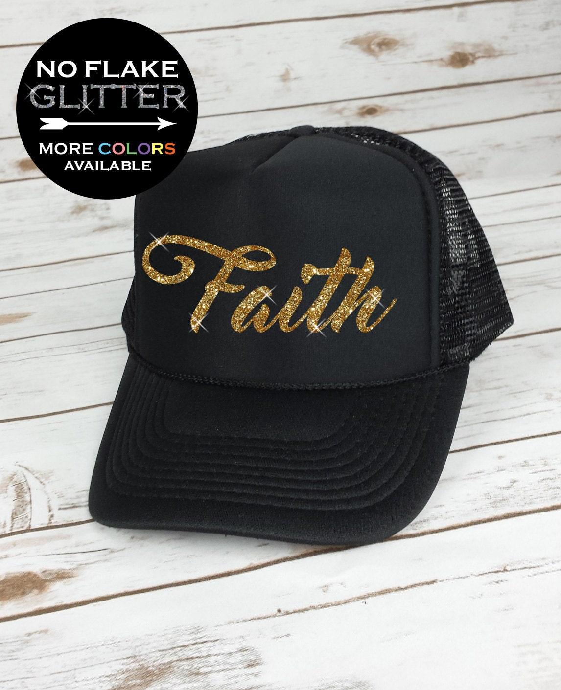 faith trucker hat glitter trucker hat womens hat workout