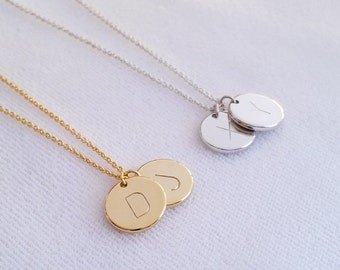 Personalized Disc Letter Necklace, Two Initial Gold, Silver Monogram Charm Necklace, Initial Circle Coin Pendant, Bridesmaid gift