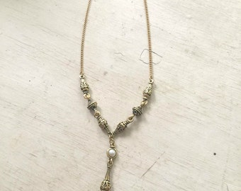 Gold & Pearl Pendant Necklace - Edwardian Renesaince Necklace - Vintage Victorian Style Detailed Necklace