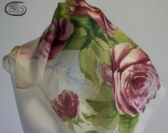 Hand painted silk scarf with purple roses and green and blue leaves. Gift for her. Birthday gift. Natural silk: Pongé 06.   21 x 21 inches