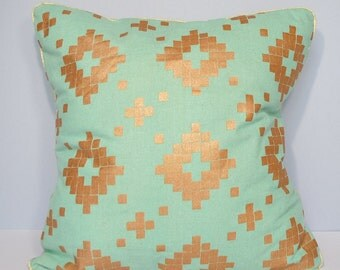 Cushion cover - green Japanese fabric and Golden geometric patterns