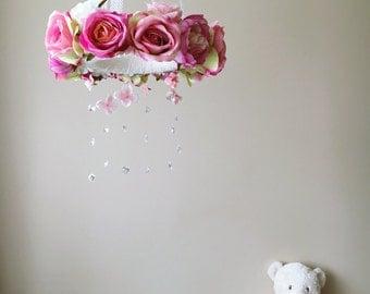 Flower chandelier, Baby flower mobile, Floral mobile, Flower mobile with Swarovski crystals / Crib mobile, Vintage inspired