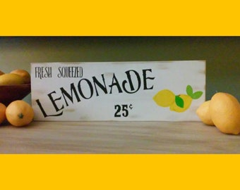 Lemonade Wooden Rustic Sign fresh squeezed lemons wood