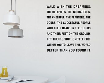 Walk With The Dreamers Wall Decal, The Art Of Living, Wilferd Peterson, Decal Quotes