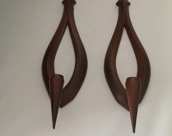 Mid Century  - Syroco -wall candle holders         Set of two