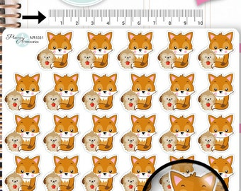 Fox Stickers,Hedgehog Stickers,Fall Stickers,Woodland Stickers,Animal Stickers,Planner Stickers,Erin Condren,Functional Stickers NR1031