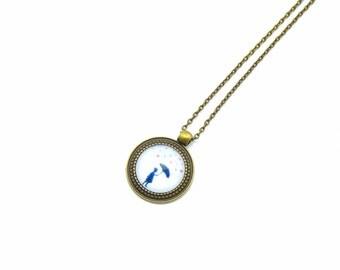"""Cabochon necklace """"Heart rain"""" 70 cm bronze"""