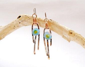 Jewelry dangle drop Flower girl earrings Inspired Dangling earrings Long modern jewelry Playful jewelry Drop flower earrings Color playful