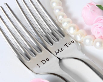 Wedding Forks, I Do-Me Too Forks, Wedding Cake Forks, Personalized Forks with Dates on the Handles