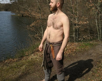 Medieval Straight Viking Trousers, Linen Pants