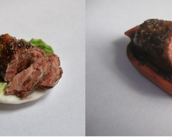 Dollhouse miniature food , realistic miniature food, Dollhouse Miniature meat , juicy meat,1:12 Scale, polymer clay food, Incredible Detail