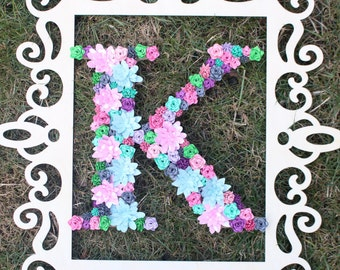 Flower Monogram - Pink/Blue/Green