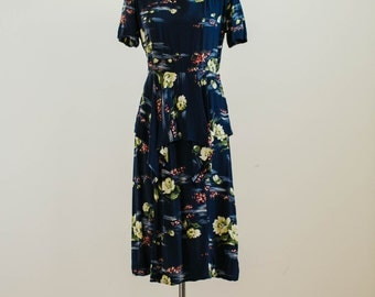 Vintage 1940s 1940's Navy Blue and Colorful Painterly Floral Pattern Dress with Peplum