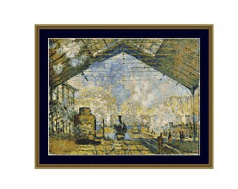 2 for 1 SALE! - Claude Monet's Gare Lazare  Cross Stitch Pattern, Impressionist Painting Instant Digital Download Cross Stitch Chart (P-137)