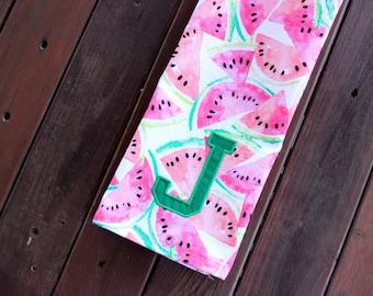 Monogrammed Watermelon Flour Sack Towel