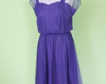 80s tulle dress / size M / vintage / purple